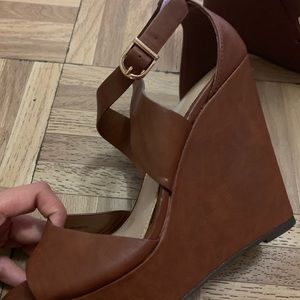 Forever 21 Shoes - Faux Brown Leather Wedges